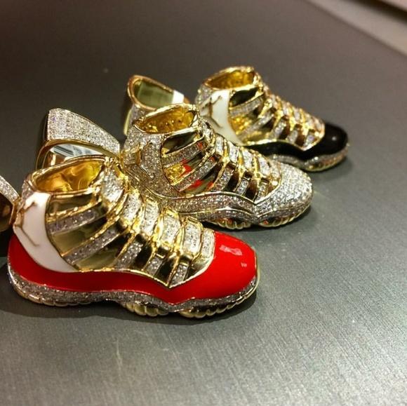 14ct Gold Diamond Enamel Air Jordans